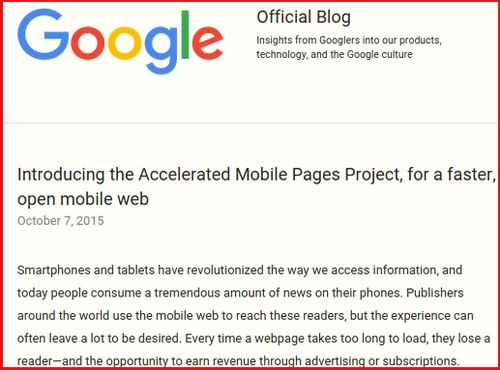 Google's announcement of Accelerated Mobile Pages Project, screencapture
