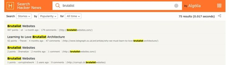 Hacker News - the brutalist 'trend' launchpad