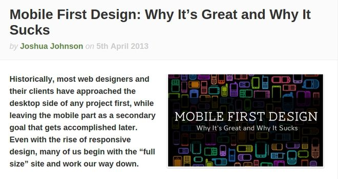 Caption showing Joshua Johnson post about mobile first