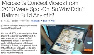 Dina Bass post in Bloomberg about Microsoft's mobile predictions in 2000 - screen capture