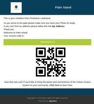 Example of invitation sent to a guest with a unique QR code; screen capture