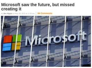 Ben Algaze post on ExtremeTech.com about Microsoft's inability to capitalize on their predictions - screen capture