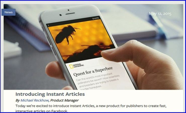 Facebook's announcement of Instant Articles, screencapture
