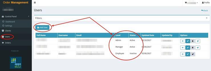 Order Management Toolset on AppzBizz platform: granting different levels of access to your app's e-commerce & order management module