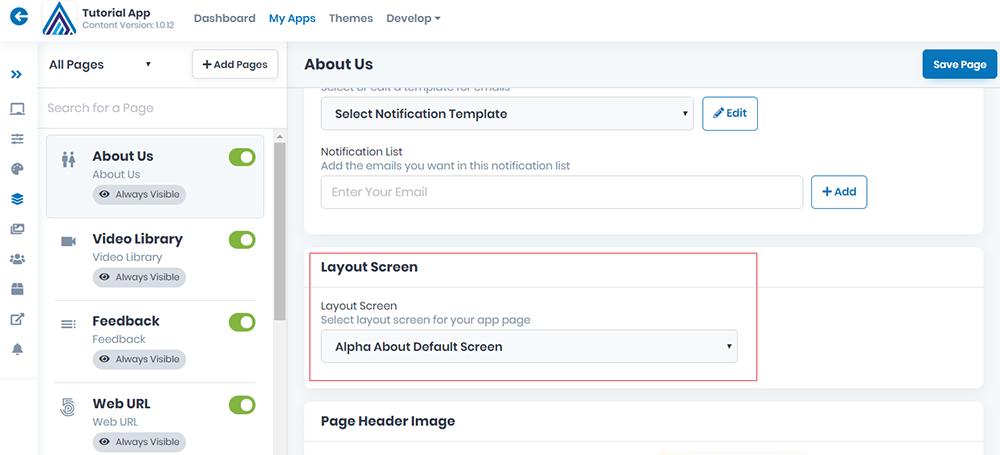 Layouts - Dev Studio AlphaApp Platform