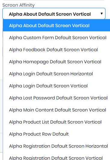 Screen Affinity in Dev Studio AlphaApp Platform