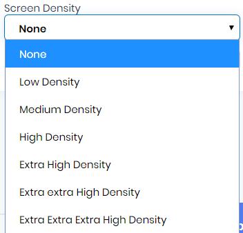 Screen Density in Dev Studio AlphaApp Platform