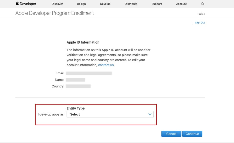 Creating an iOS Developer Account - Step 3