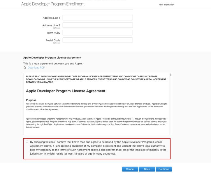 Creating an iOS Developer Account - Step 5