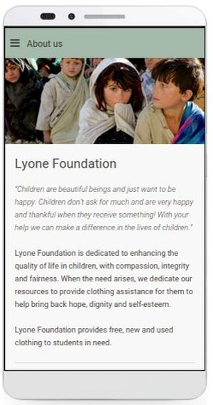 Lyone Foundation App, About Us page