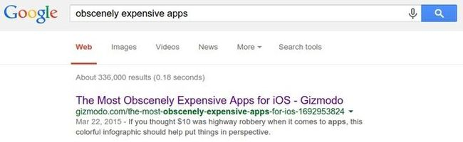Caption showing search results in Google for 'obscenely expensive apps'
