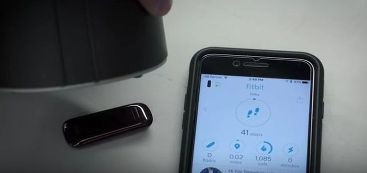 Demonstration of how you can fool a stationary fitbit to record any number of of fake steps; screenshot from this youtube video