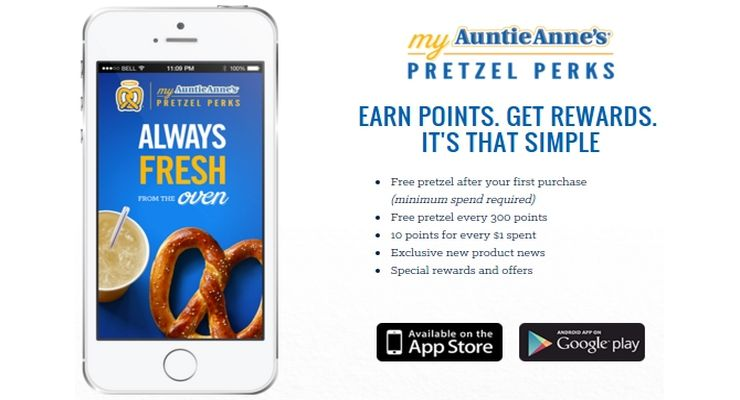 AuntieAnne's app bets heavily on loyalty. Screen capture from http://www.auntieannes.com/my-pretzel-perks-app