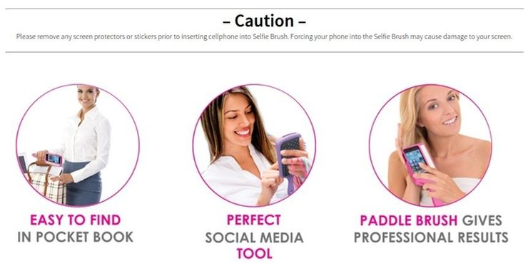 SelfieBrush advantages and the important Caution note, screenshot from selfiebrush.com
