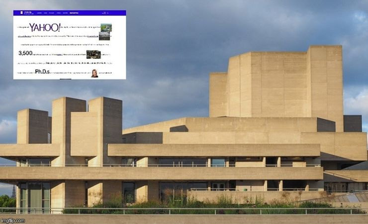 Brutalism in architecture - Southbank Centre, London; brutalism in web design -  Bloomberg Businessweek feature on Yahoo