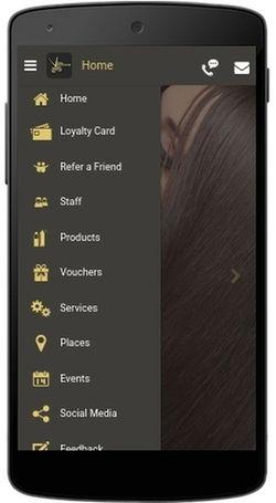 The app's opened menu