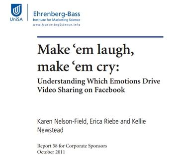 "Make em laugh, make em cry: understanding which emotions drive video sharing on Facebook"", a report authored by Nelson-Field and published by The Ehrenberg-Bass Institute in 2011"
