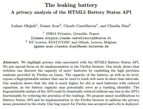 Title and abstract from 'The leaking battery A privacy analysis of the HTML5 Battery Status API' by Olejnik et al, 2015