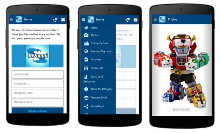 Toynami app - Homepage, Main menu, Photos pages