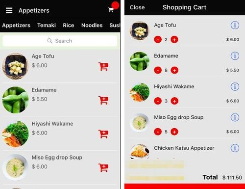 E-commerce module functionalities in a restaurant app: adding products to a shopping cart