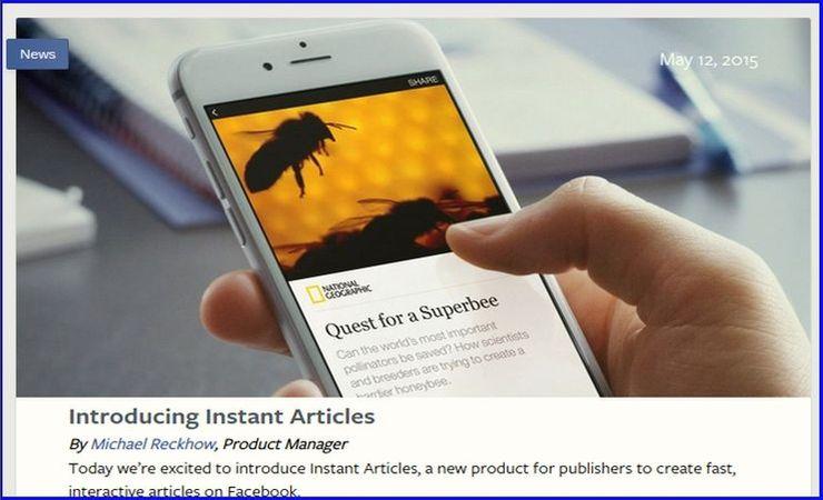 Facebook's announcement of Instant Articles, screencapture