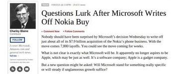 Forbes post by Charley Blaine on Microsoft decision to get rid of Nokia - screen capture