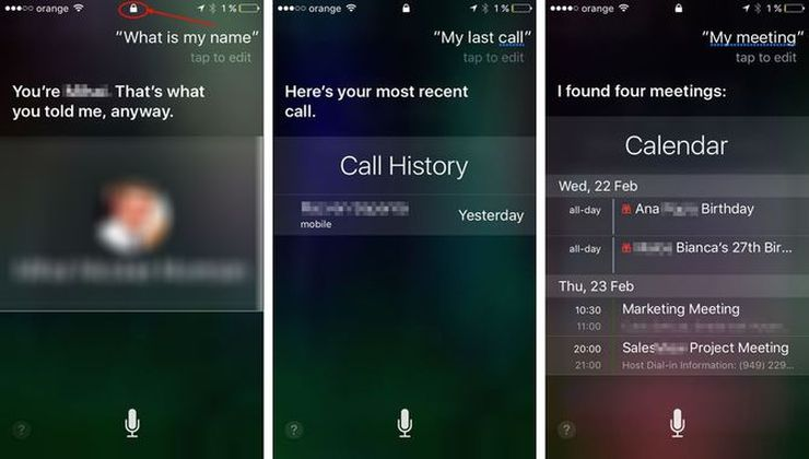 What information is immediately available on a locked iPhone with Siri and notifications and today view toggled on