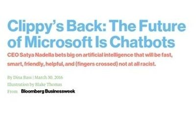 Screenshot from Dina Bass' post in Bloomberg Businessweek about Microsoft and chatbots
