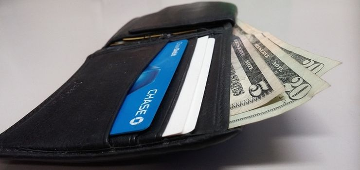 Typical wallet with money and credit card